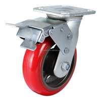 100mm heavy duty industrial PU on cast iron caster with brake