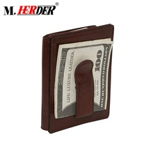 Fashion style front pocket slim cow leather card holder with money clip man RFID cardholder <strong>wallet</strong>