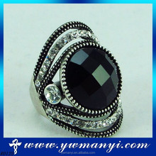 Popular fashion silver handmade small one stone black crystal diamond ring finger R0125