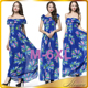 5XL 6XL Plus Size Women Elegant Casual Blue Print Boho Long Maxi Beach Summer Dress 2016 Woman Dresses Clothing Short Sleeve