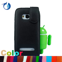 Black Soft Magnetic Top Flip Leather Case For Nokia Lumia 710