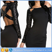 Cross Back Black Chiffon Evening Dress With Sequined Sleeves