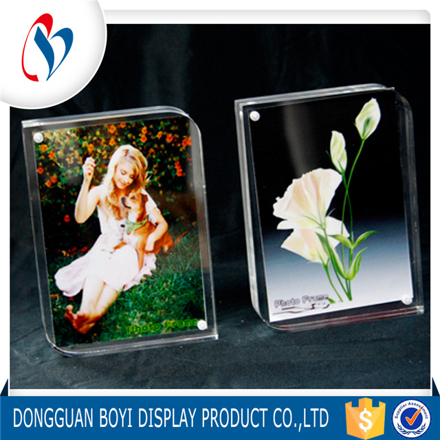 Cheap Plastic Picture Frame Clear Wall Mount Acrylic Photo Frame Block