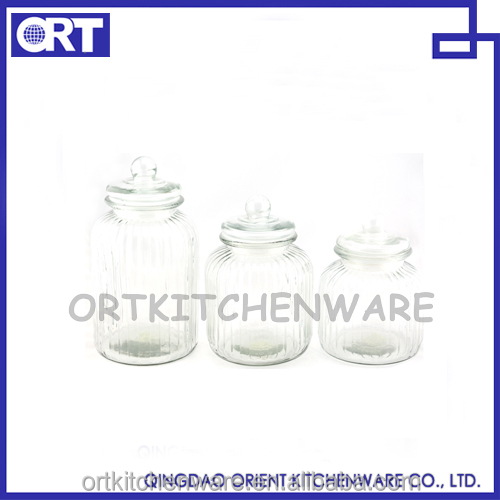 SET OF 3 PCS CANISTER SET WITH GLASS LID