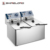 Shinelong ODM & OEM High Quality Restaurant Commercial Deep Continuous Potato Chips Fryer Machine With 2-Tanks 2-Baskets