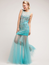 E015 Adorable girls party prom dress with stones mermaid see through bottom evening long