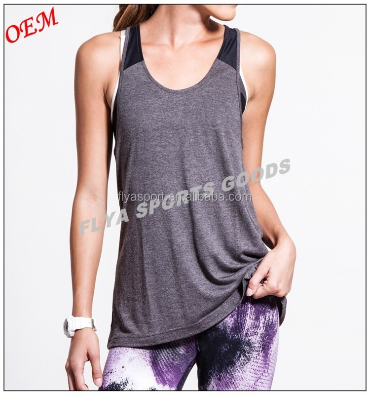 2018 new style open back cowl detail womens fitness tank tops