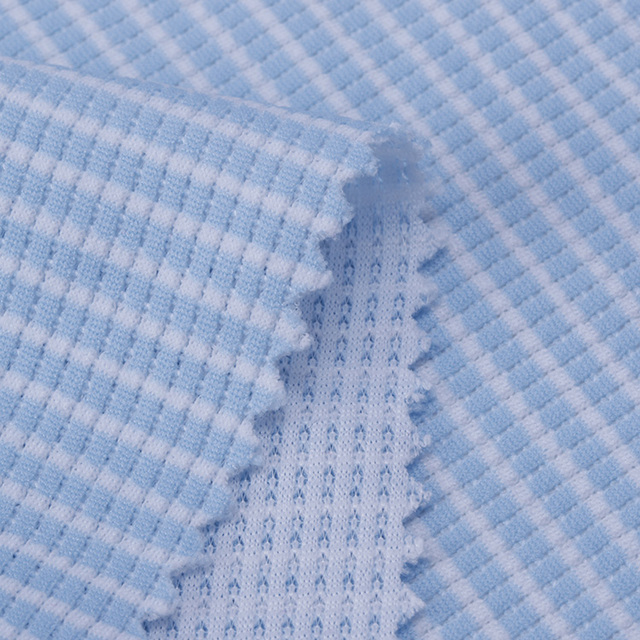 Fashion OEM blue and white stripe 100% polyester knitted women sports t-shirt fabric
