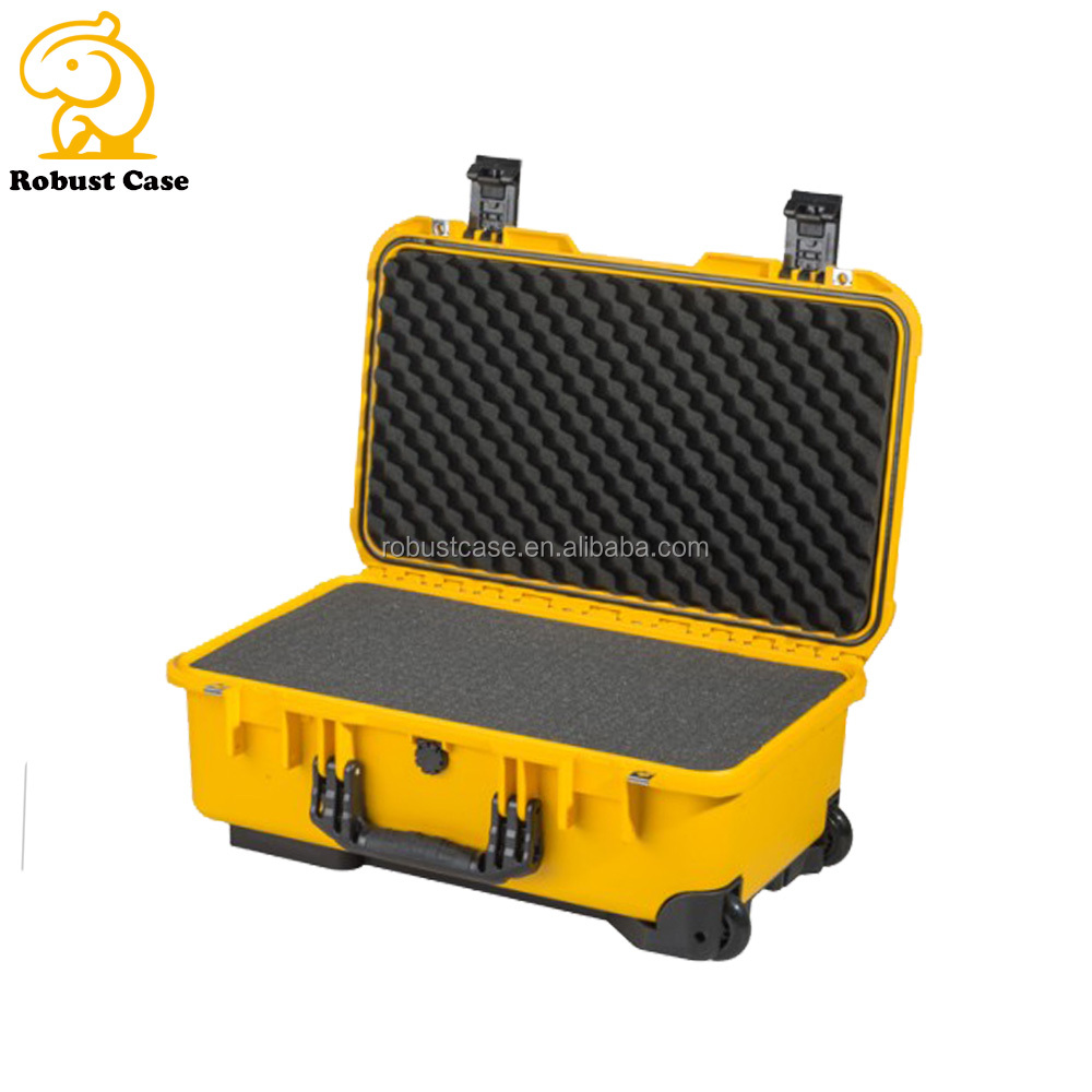 Ningbo factory injection molded IP67 waterproof carrying rugged hard plastic equipment case with foam and wheels
