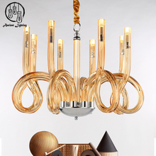 Led Modern Blown Amber Crystal Glass Large Chandelier Lighting Pendant Light Parts For Weddings