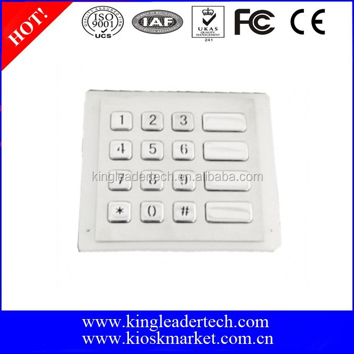 IP65 Water resistant keypad with 16 numeric metallic keys