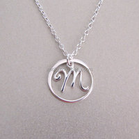 Fashion Circle Script Initial Necklace