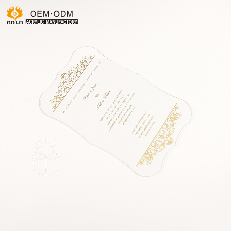 custom writing laser cut clear acrylic wedding invitation card