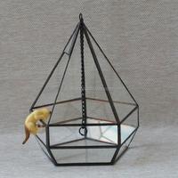Micro indoor deocr landscape vase hanging geometric glass terrarium