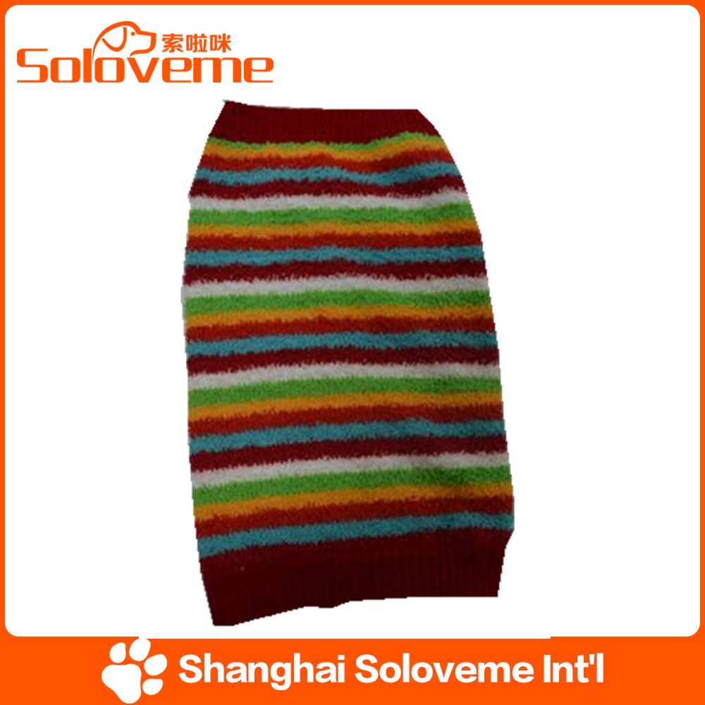 hot sale colorful stripe dog sweater custom pet clothing
