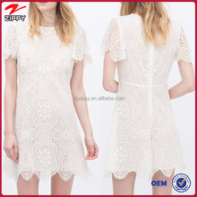 New design short sleeve white women lace dresses for women 2016