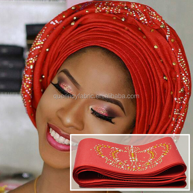AS011 Queency Factory Directly Sell Asoebi Style Crown Design Aso Oke Head Tie with Beads