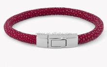 Online Store Suppliers For Fashion Jewelry, Galuchat Bracelet In Red Stingray Skin With Silver Clasp