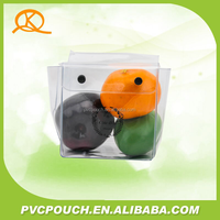 Button closure plastic pvc cosmetic pouch, pvc bag with snap