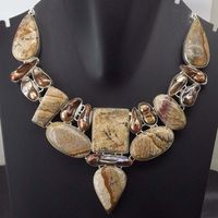 Picture Jasper, Biwa Pearl Necklace plated 925 Sterling Silver 96 Gms 18-20 Inches