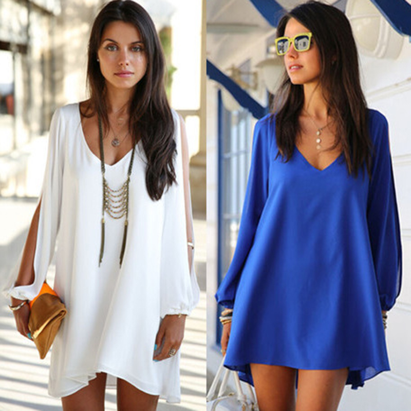 2017 New Stylish Summer White Long Sleeve Chiffon Dress For Ladies