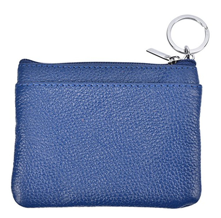 Womens Mini Coin Purse Wallet Leather Zip Pouch Keychain Ring