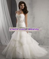 2015 New Arrival Satin Organza Applique Pleat Ruffles Crystal Beaded Mermaid Wedding Dress