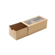 <strong>OEM</strong> Printed Brown Recycled Kraft Paper Slider Foldable Socks Packaging Box With Window