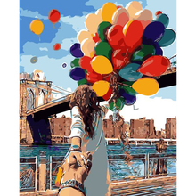 Oil Painting By Numbers Canvas Oil DIY Painting Couple with Balloons Handpainted Paintings Coloring Home Decor Frame