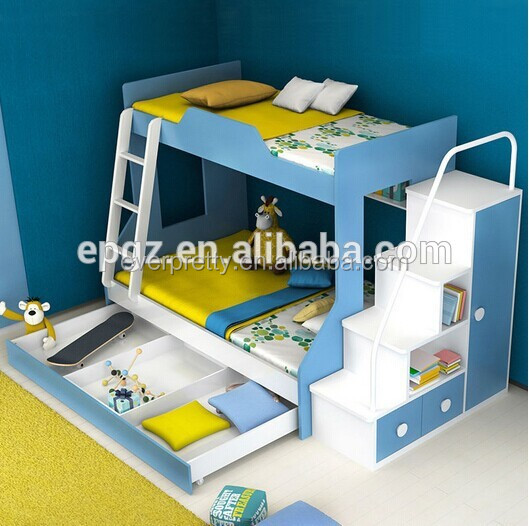 Hot Selling Environmental Bedroom Furniture Wood Children Bunk Bed with Storage