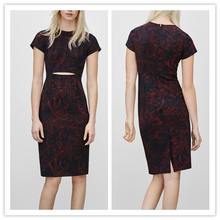 New Dress Styles for Women 2015 Leaf Printed Cutout Front Cap Sleeve Bodycon Fashion Girls Business Attire NT6332