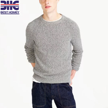 winter classic slim fit style rib knittedwool acrylic crew neck grey sweater pullover for men