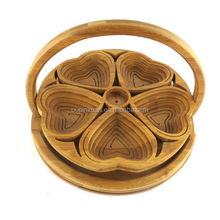 Hand crafted flower shaped folding bamboo fruit baskets