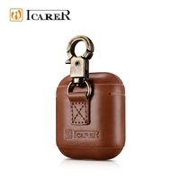 ICARER Vintage Leather Case For Air Pod With Metal Hook Design Case For Apple Wireless Headphone