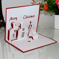 Sweetmade 3d pop up greeting card handmade customized 3D christmas cards with your best wish and greeting