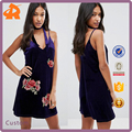 Women Summer Latest Dress Designs For Ladies Velvet Rose Embroidery Dress Ladies Clothing