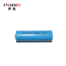 Factory price li-ion 3.2v 600mah ifr 14500 li-ion battery with flat top/button top