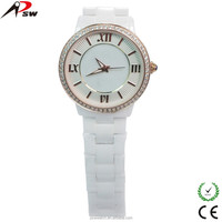 vacuum plating fancy lady girls cheap white ceramic waterproof watch