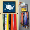 Marathon medal hanger Iron marathon medal holder with bib pouches