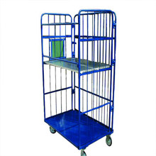 Foldable transport trolley cage with 4 wheels