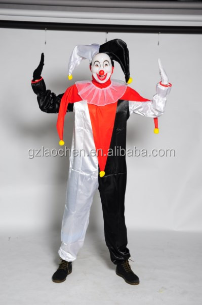 Professionnelle joker costume adulte costume photos clowns cirque costume pour le carnaval