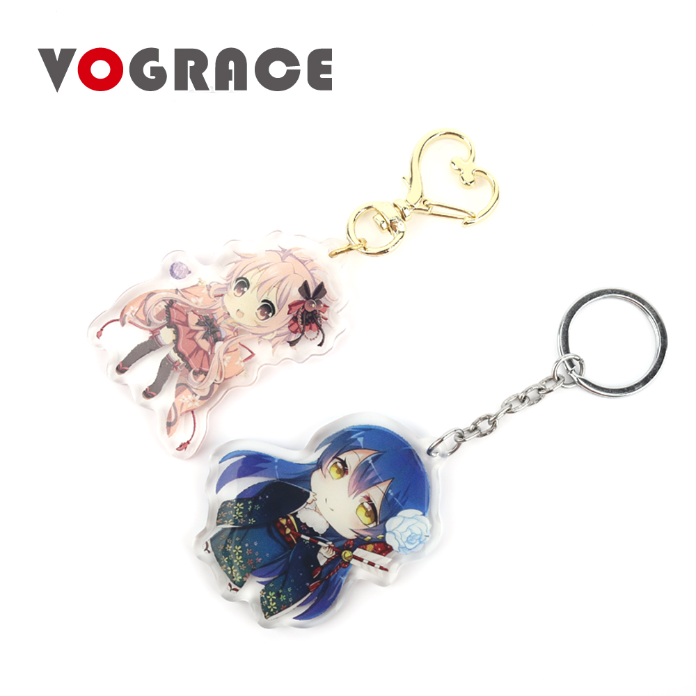 Vograce personalized two side printed custom shaped lovely epoxy clear glitter cartoon acrylic plastic keychain anime