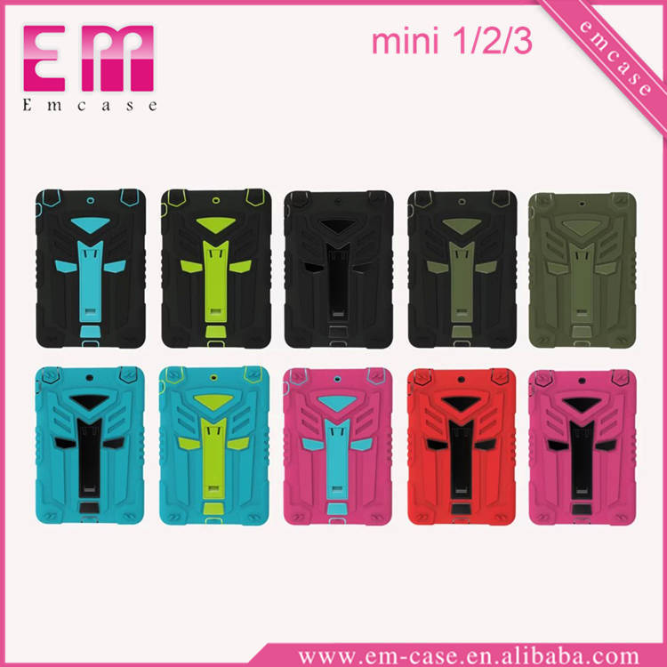 For iPad Mini 1 2 3 Shockproof TPU PC Case Back Cover Clip Holder Case For iPad Mini