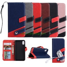 Wholesale Contrast color litchi grain leather flip wallet phone Case for iphone X
