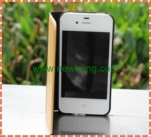 Simple style pu leather + real wood chip case for iphone 5