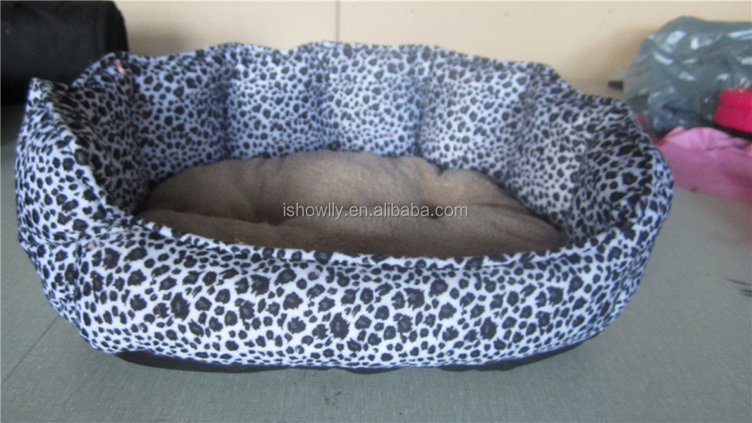 High quality leopard single side fleece polyester pet bed single plush dog bed