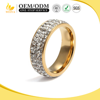 Elegant Design Women Stainless Steel Pave Crystal Ring Fashion 18k Gold Filled Rhinestone Wedding Ring