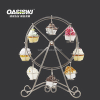 8-Cup Metal Rotating Ferris Wheel Cupcake and Dessert Stand Holder, Chrome Finish