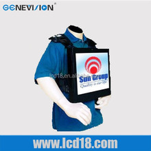 New 22inch backpack LCD video advertising display touch screen with rechargeable battery, 3hours battery life (MG-220)