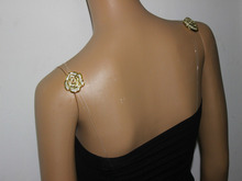 gold color rose flower fancy bra straps